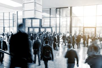 Conference Visitors rushing in a modern hall- Stock Photo or Stock Video of rcfotostock | RC-Photo-Stock