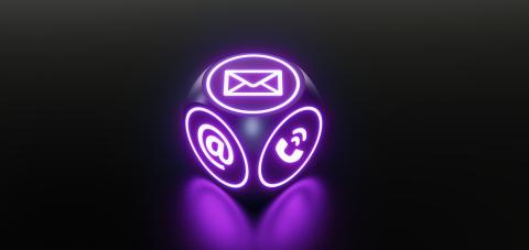 Contact Icons on a modern neon cube gaming- Stock Photo or Stock Video of rcfotostock | RC-Photo-Stock