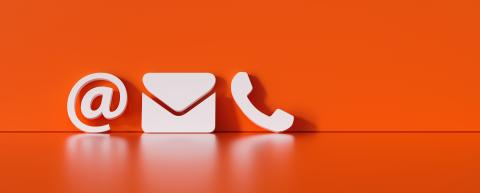 Contact Methods. Close-up Of A Phone, Email and Post Icons Leaning On red Wall- Stock Photo or Stock Video of rcfotostock | RC-Photo-Stock