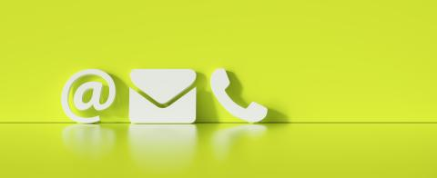 Contact Methods. Close-up Of A Phone, Email and Post Icons Leaning On green Wall- Stock Photo or Stock Video of rcfotostock | RC-Photo-Stock