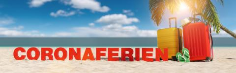 Coronaferien (German for: Corona Holidays for coronavirus pandemic) concept with slogan on the beach with Suitcase, Palm tree, flip-flops and blue sky : Stock Photo or Stock Video Download rcfotostock photos, images and assets rcfotostock | RC-Photo-Stock.: