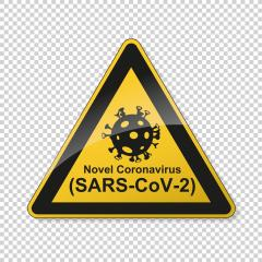 Coronavirus 2019-nCoV. Corona virus Pathogen respiratory infection attention sign. Safety signs, warning Sign, Danger BGV Pandemic medical concept for covid-19 on transparent background. Vector Eps10- Stock Photo or Stock Video of rcfotostock | RC-Photo-Stock