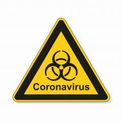 Coronavirus 2019-nCoV. Corona virus Pathogen respiratory infection attention sign. Safety signs, warning Sign, Danger symbol BGV Pandemic medical concept for covid-19 on white background. Vector Eps10- Stock Photo or Stock Video of rcfotostock | RC-Photo-Stock
