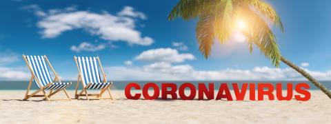 Coronavirus concept with slogan on the beach with deckchairs, Palm tree and blue sky- Stock Photo or Stock Video of rcfotostock | RC-Photo-Stock