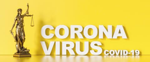 coronavirus covid-19 and Statue of Justice - law concept - Stock Photo or Stock Video of rcfotostock | RC-Photo-Stock