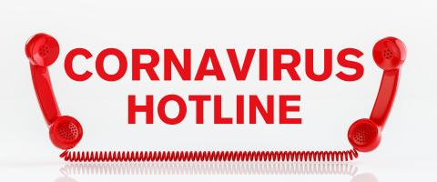 Coronavirus hotline with Covid-19 virus and a red telephone- Stock Photo or Stock Video of rcfotostock | RC-Photo-Stock