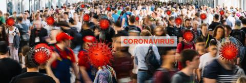 Coronavirus prevention in city center, crowd of anonymous people become infected with Covid-19.- Stock Photo or Stock Video of rcfotostock   RC-Photo-Stock