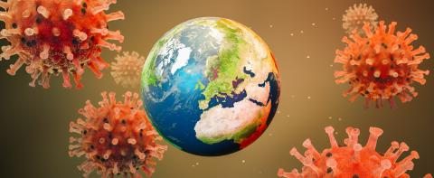 Coronavirus Sars-CoV-2 Covid-19 with planet earth concept as panorama header - 3D Rendering- Stock Photo or Stock Video of rcfotostock | RC-Photo-Stock