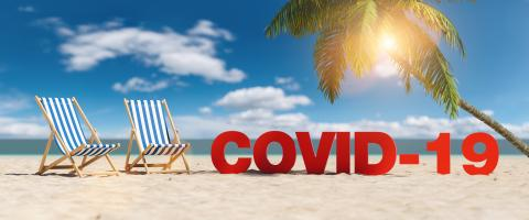 Covid-19 Coronavirus epidemic concept with slogan on the beach with deckchairs, Palm tree and blue sky- Stock Photo or Stock Video of rcfotostock | RC-Photo-Stock