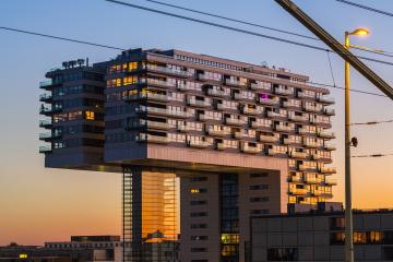 crane house at sunset in cologne- Stock Photo or Stock Video of rcfotostock | RC-Photo-Stock