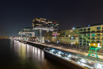 crane house buildings at night in cologne- Stock Photo or Stock Video of rcfotostock | RC-Photo-Stock