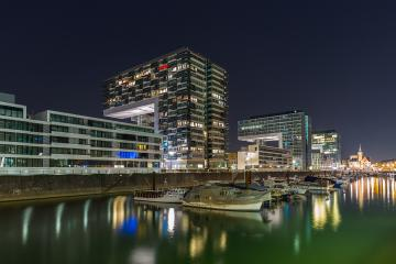 crane house buildings at night in cologne : Stock Photo or Stock Video Download rcfotostock photos, images and assets rcfotostock | RC-Photo-Stock.: