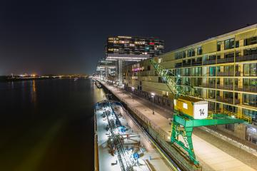 crane house buildings at night in cologne city : Stock Photo or Stock Video Download rcfotostock photos, images and assets rcfotostock | RC-Photo-Stock.: