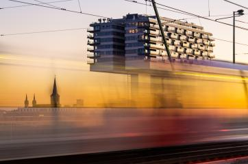 crane houses in cologne at sunset- Stock Photo or Stock Video of rcfotostock | RC-Photo-Stock