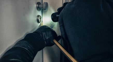Criminal opens door with crowbar and Black Leather Gloves at Night : Stock Photo or Stock Video Download rcfotostock photos, images and assets rcfotostock | RC-Photo-Stock.:
