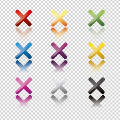 Cross sign elements on checked transparent background. Mark graphic design. Button for vote, decision, web. Symbol of error, check, wrong and stop, failed. Vector illustration. Eps 10 vector file. : Stock Photo or Stock Video Download rcfotostock photos, images and assets rcfotostock | RC-Photo-Stock.: