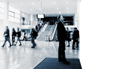crowd of anonymous blurred business people at a trade fair, with banner and copy space for individual text - Stock Photo or Stock Video of rcfotostock   RC-Photo-Stock