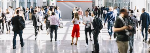 crowd of anonymous blurred people at a trade fair- Stock Photo or Stock Video of rcfotostock   RC-Photo-Stock