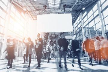 crowd of anonymous blurred people at a trade show- Stock Photo or Stock Video of rcfotostock | RC-Photo-Stock