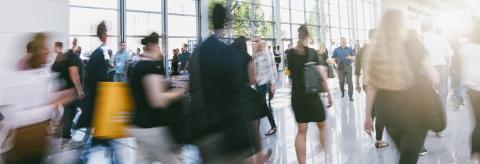 Crowd of anonymous people walking in a modern hall- Stock Photo or Stock Video of rcfotostock | RC-Photo-Stock
