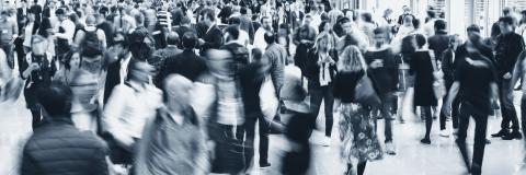 Crowd of anonymous people walking on a trade fair- Stock Photo or Stock Video of rcfotostock | RC-Photo-Stock
