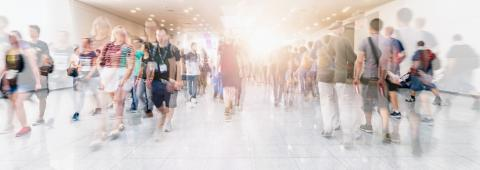 Crowd of anonymous people walking on trade show- Stock Photo or Stock Video of rcfotostock | RC-Photo-Stock