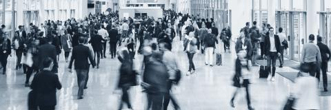 crowd of Blurred business people at a trade fair floor- Stock Photo or Stock Video of rcfotostock   RC-Photo-Stock