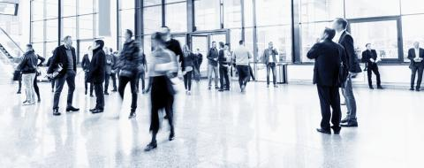 crowd of blurred business people in a trade fair hall- Stock Photo or Stock Video of rcfotostock | RC-Photo-Stock
