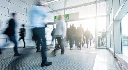 Crowd of blurred people at a modern tradeshow entrance- Stock Photo or Stock Video of rcfotostock | RC-Photo-Stock