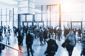 crowd of Blurred People at a trade fair- Stock Photo or Stock Video of rcfotostock | RC-Photo-Stock