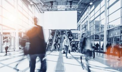 crowd of blurred people at a trade show, including copy space banner - Stock Photo or Stock Video of rcfotostock | RC-Photo-Stock