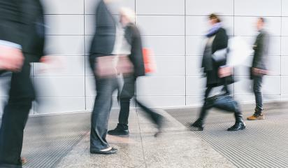 crowd of blurred people walking in a futuristic corridor- Stock Photo or Stock Video of rcfotostock   RC-Photo-Stock