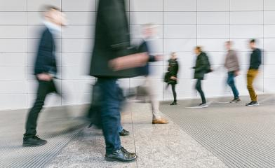 crowd of blurred people walking in a futuristic corridor : Stock Photo or Stock Video Download rcfotostock photos, images and assets rcfotostock | RC-Photo-Stock.: