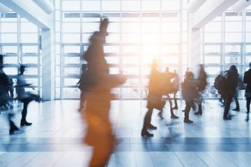 crowd of Blurred people walking in a modern environment- Stock Photo or Stock Video of rcfotostock | RC-Photo-Stock