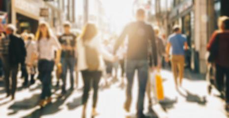 crowd of people in a shopping street, defocused background- Stock Photo or Stock Video of rcfotostock | RC-Photo-Stock