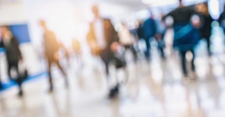 crowd of people walking at a trade show Intentionally blurred background- Stock Photo or Stock Video of rcfotostock   RC-Photo-Stock