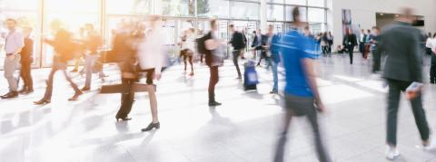crowd of people walking in a modern hall- Stock Photo or Stock Video of rcfotostock   RC-Photo-Stock