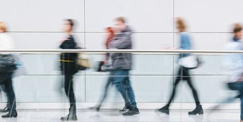 crowd of trade fair visitors walking in a clean futuristic corridor : Stock Photo or Stock Video Download rcfotostock photos, images and assets rcfotostock | RC-Photo-Stock.: