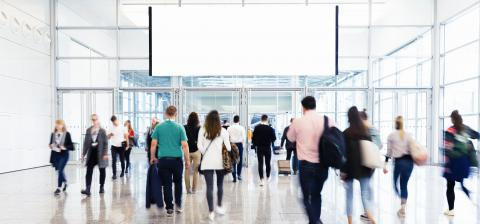 Crowd under blank billboard on trade fair- Stock Photo or Stock Video of rcfotostock | RC-Photo-Stock