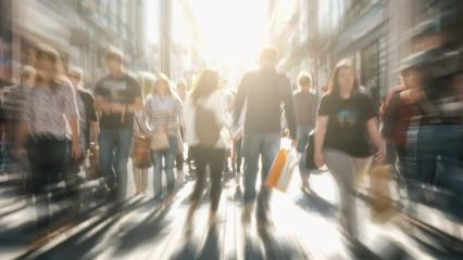 crowds of people in motion blur crossing a city street at sunset- Stock Photo or Stock Video of rcfotostock | RC-Photo-Stock