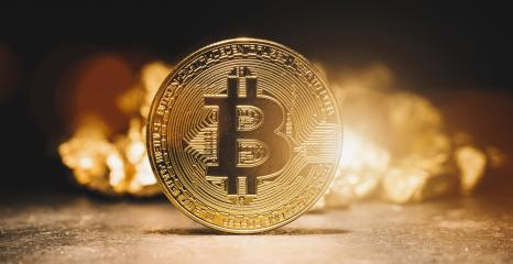 cryptocurrency Bitcoin and mound of gold - Business concept image- Stock Photo or Stock Video of rcfotostock | RC-Photo-Stock
