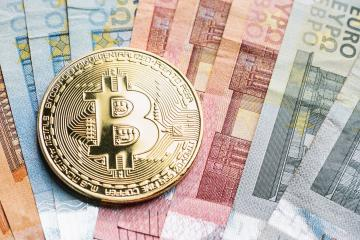 cryptocurrency Bitcoin, on top of Euro banknotes, including copy space- Stock Photo or Stock Video of rcfotostock   RC-Photo-Stock