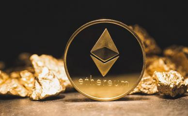cryptocurrency Ethereum and a mound of gold nuggets - Business concept image- Stock Photo or Stock Video of rcfotostock | RC-Photo-Stock