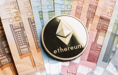 cryptocurrency Ethereum on top of Euro banknotes- Stock Photo or Stock Video of rcfotostock | RC-Photo-Stock