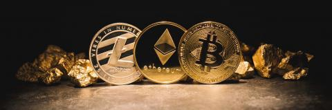 cryptocurrencys Ethereum, Bitcoin, Litecoin and mound of gold - Business concept image- Stock Photo or Stock Video of rcfotostock | RC-Photo-Stock
