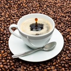 cup of coffee with drop on beans- Stock Photo or Stock Video of rcfotostock | RC-Photo-Stock