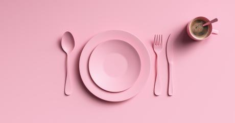 Cup of coffee with pink fork, knife and spoon, top view. Clear ceramic dishware with set cutlery design. Empty pink table ware for lunch or dinner in cafe. copyspace for your individual text.- Stock Photo or Stock Video of rcfotostock | RC-Photo-Stock