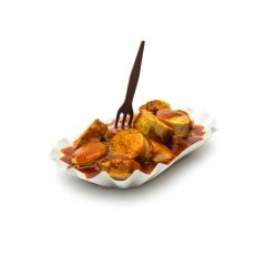 currywurst in a shell with fork- Stock Photo or Stock Video of rcfotostock | RC-Photo-Stock