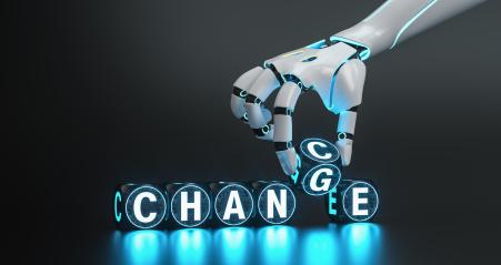 cyborg robot hand changes text cube from change to chance - ai concept image- Stock Photo or Stock Video of rcfotostock | RC-Photo-Stock
