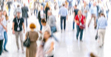 Defocused Crowd of people walking at a trade fair- Stock Photo or Stock Video of rcfotostock   RC-Photo-Stock